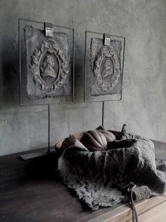 Kalkverfdoekjes in raamwerk. Hoogte raamwerk 50 cm. Enkele of dubbele afbeelding mogelijk. Kalkverfdoekjes op statief. ...