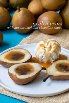 Grilled pears with hot caramel and chocolate sauce. This dessert is perfect for summer entertaining. Toss the pears on the grill and grab the ice cream.