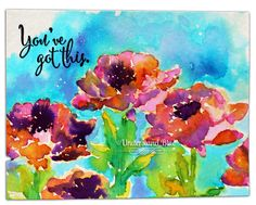 hand crafted card from Understand Blue ... bright and beautifucolors ... no line water color technique ... she has two videos showing how to use a Stampin' Up! (You've Got This) flower stamp ... luv it!