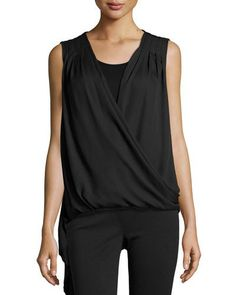 Neiman Marcus Sleeveless Asymmetric Combo Blouse, Black New offer @@@ Price :$142 Price Sale $71