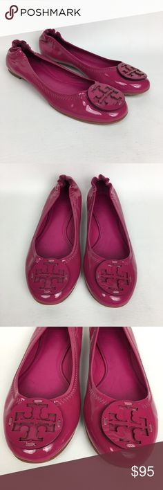 Tory Burch Sz 6.5M Minnie Hot Pink Patent Leather Pre owned, good used condition. Tory Burch Shoes Flats & Loafers