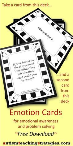 There are two decks of cards in this free download. One has names of emotions and the other deck sets up various learning tasks from easy to hard.