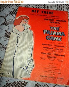 Vintage 1954 Sheet Music Hey There The Pajama Game Broadway Musical Comedy Production Cute Cover Art 1950s by VintageRoyalTreasure on Etsy