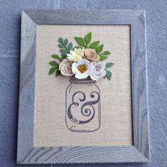 Felt Flowers in a mason jar canvas art by BlueHouseDesignz on Etsy https://www.etsy.com/listing/247289644/felt-flowers-in-a-mason-jar-canvas-art