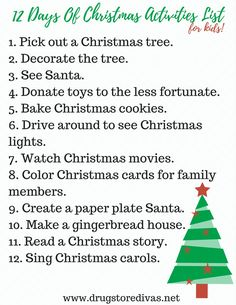12 Days Of Christmas Things To Do With Kids - Drugstore Divas Christmas Things To Do, Watch Christmas Movies, Magical Christmas, 12 Days Of Christmas, Christmas Colors, Christmas Holidays, Christmas Ideas, Holiday Ideas, Merry Christmas
