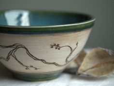 Teal and Cream Serving Bowl with Cherry Blossom by peifferStudios, $39.00