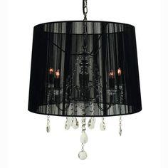 Rovello Iron Five Light Crystal Pendant With Black Shade Creative Creations Drum Pendant L