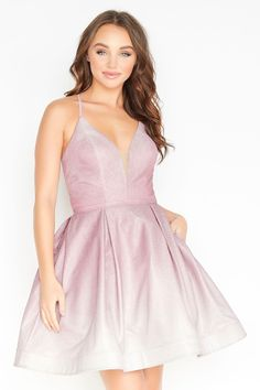 Jolene 19549 spaghetti straps fit and flare cocktail dress with open back and criss cross tie straps. Pretty Prom Dresses, Prom Dresses Jovani, Hoco Dresses, Dance Dresses, Homecoming Dresses, Formal Dresses, Fit And Flare Cocktail Dress, Stylish Outfits, Fashion Outfits