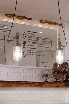 Cafe Plenty, Toronto, Canada :: Black vinyl on a framed mirror for menu