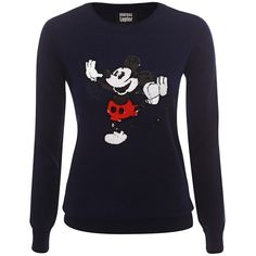 Navy Vintage Dancing Mickey Sequin Sweater (590 CAD) ❤ liked on Polyvore featuring tops, sweaters, navy blue tops, vintage sequin tops, blue sequin sweater, blue sweater and sequin sweater