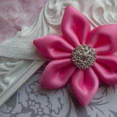 New elegant handmade pink baby headband! Perfect for a flower girl, wedding, photo prop & Valentine's Day!