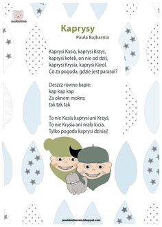 K jak katar i kaprysy Speech Therapy, Kids And Parenting, Hand Lettering, Art For Kids, Activities For Kids, Poems, Teacher, Education, Children