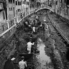 A canal being drained and cleaned in Venice, Italy, 1956.