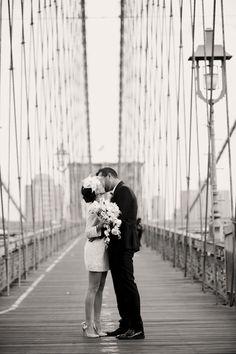 new york city, short wedding dress