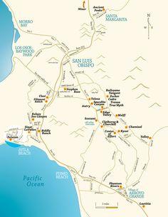 San Luis Obispo CA wine tasting map