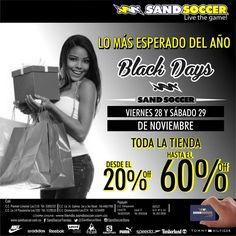¡Lo más esperado!, Black Days toda la tienda desde el 20% hasta el 60%Off este viernes 28 y sábado 29 de noviembre no te lo puedes perder.