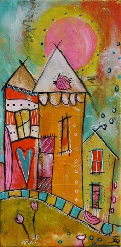 Welcome Funky Village by the beach in yellows and by JodiOhl Round Robin, Zen Doodle, Arte Popular, Canvas Designs, Doodle Drawings, Whimsical Art, Fabric Painting, Yard Art, Art Lessons