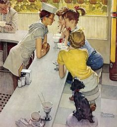"'Soda Jerk' (1953) by Norman Rockwell.  Soda Fountains are a thing of the past...except for a few 'retro' specialty places.  Hang outs for 50's teens. (My daughter was a ""soda jerk"" for a while. We have a place here in Indiana where they make them the old fashioned way.)"