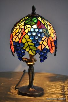 grapes colorful stained glass tiffany lamp by z74000