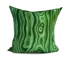 Green Pillow Cover Malachite Cushion Cotton Throw by lajoyade,