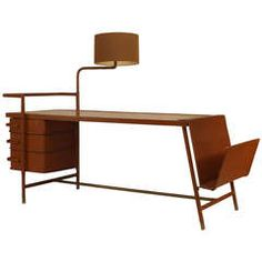 1940s French Desk with Hinged Lamp Attributed to Jacques Adnet
