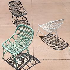 Made from durable, all weather wicker with a lightweight aluminum frame, this colorful chair is a cheerful addition to garden rooms.- Powder-coated aluminum, poly rattan- Indoor or outdoor use- Clean with water and mild, non-abrasive detergent- Seat: - Outdoor Wicker Chairs, Outdoor Living Furniture, Diy Furniture Plans, Outdoor Decor, Rattan Chairs, Rattan Armchair, Plywood Furniture, Adirondack Chairs, Outdoor Spaces