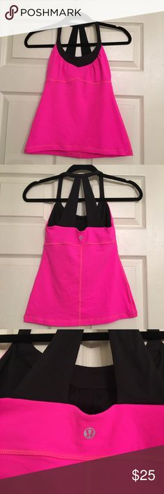Lululemon Hot Pink Tank Hot pink & black LULULEMON tank. With built in mesh bra. Excellent condition! Size 0. Inner tag has been removed. Very cute workout top lululemon athletica Tops Tank Tops