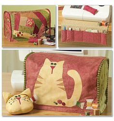 Sewing for the sewing room -love the fabric colors - not that into cats, but like the quilted sewing machine cover. My Sewing Room, Sewing Rooms, Sewing Hacks, Sewing Crafts, Quilting Projects, Sewing Projects, Ideias Diy, Cat Quilt, Cat Crafts