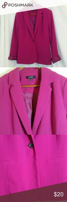 Pink Blazer Jacket - Apt 9 suit jacket in magenta Gorgeous fuchsia pink color on this one! Single button blazer suit jacket by Apt 9. Cuffs can unroll if you prefer that look. Great condition, no rips or stains.  Sz 8. Apt. 9 Jackets & Coats Blazers