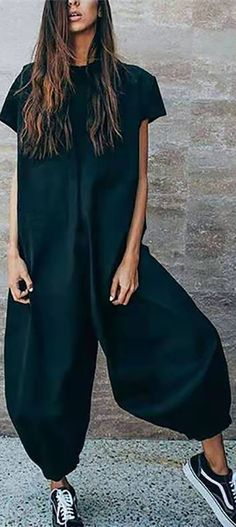 Solid Casual Short Sleeve Jumpsuits embarazadas fashion fotos ideas moda diet first yoga fashion fotos outfits tips women Look Fashion, New Fashion, Womens Fashion, Fashion Design, Fashion Trends, French Fashion, Indian Fashion, Korean Fashion, Fall Fashion