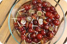 Drunken Grapes   These boozy grapes were super easy and everyone loved them Simply slice some red (or green) grapes and soak them in Amaretto over night. Stick them on some tooth picks and tadaa, you've got a party pleaser.    The rich almond-y flavor of the Amaretto and the sweet and sour grapes worked really well