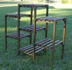 Vintage 7 Tier Wood Slatted Mid Century Modern Plant Stand Shelf   eBay