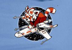 Red Panda Star Wars Parody X wing fighter tee t-shirt