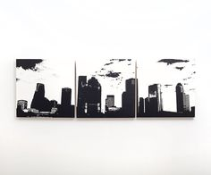 Houston Skyline Triptych Large Wall Art Can be easily hung on the wall or leaned up against a surface. Various Color Options! (3) 12 x 12 inch