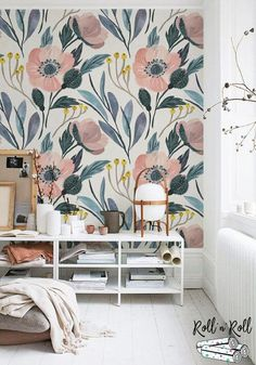 Best Ideas for bath room wallpaper floral wall murals Watercolor Wallpaper, Paper Wallpaper, Flower Wallpaper, Wall Wallpaper, Watercolor Flowers, Large Print Wallpaper, Temporary Wallpaper, Trendy Wallpaper, Disney Wallpaper