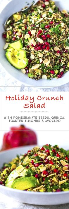 Pomegranate Salad w/  Quinoa, Avocado, parsley and Toasted Almonds...a healthy vegan gluten free addition to your holiday table! | www.feastingathome. com