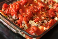 stuffed cabbage casserole - super easy and tastes just as good as traditional cabbage rolls! Mashed potatoes and rye bread on the side.