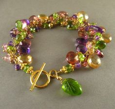 Amethyst Peridot Golden Pyrite and Quartz Gold by SurfAndSand
