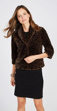 J.McLaughlin - Roxanne Faux Fur Jacket in Leopard
