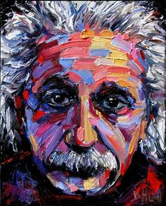 "E=MC2 ( Albert Einstein ) 8""x10"" gallery wrapped with image painted onto sides SOLD"