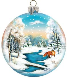 Fox near the River Ornament; Handcrafted Old World Christmas Gallery Collection for the Tree. (73415)