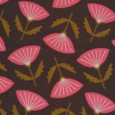 Meridian Brown Barkcloth  Cloud 9 Collective In Theory by Jessica Jones OE 100 Certified Organic Cotton Fabric Pink Retro Inspired Floral by Owlanddrum on Etsy