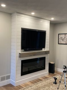 Basement Fireplace, Fireplace Built Ins, Bedroom Fireplace, Home Fireplace, Fireplace Surrounds, Fireplace Design, Shiplap Fireplace, Fireplace Ideas, Fireplaces