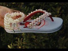 Bordado lindo para sandália infantil! Com miçangas de acabamento! - YouTube