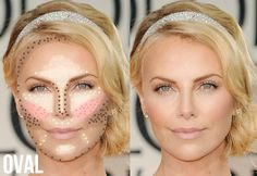 Oval face highlighting and contouring.