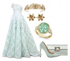 A fashion look from August 2017 featuring green pumps, chain strap purse and diamond rings. Browse and shop related looks. Royal Dresses, Ball Dresses, Ball Gowns, Prom Dresses, Elegant Dresses, Pretty Dresses, Beautiful Dresses, Royal Clothing, Fairytale Dress