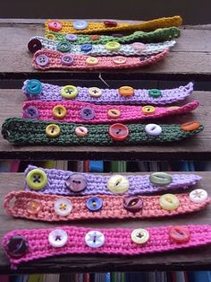 Kids Crochet Bracelets- I like this idea but for a headband. Perfectly adjustable since the headbands always seem to stretch out!