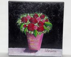 Original Acrylic Painting 12x12 Canvas Red and by ArtVisionStudio, $75.00
