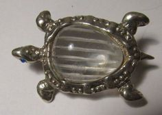 Vintage-Sterling-Lucite-Jelly-Belly-Turtle-Brooch-Pin-Figural