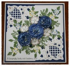 Carnations in Navy by Dragonfly Cards - Cards and Paper Crafts at Splitcoaststampers Heartfelt Creations, Making Greeting Cards, Greeting Cards Handmade, Marianne Design Cards, Card Making Designs, Handmade Card Making, Spellbinders Cards, Birthday Cards For Women, Embossed Cards
